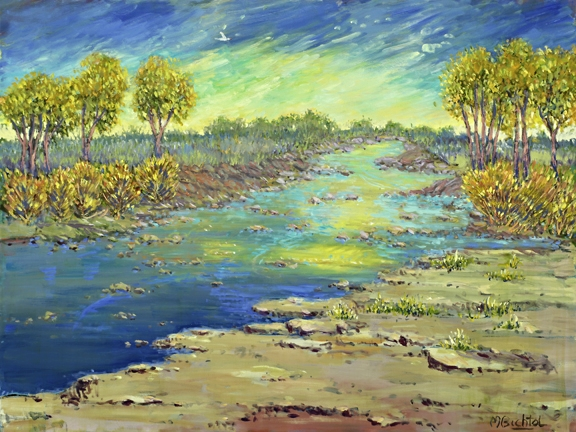 Quiet on the Pedernales 2  40x30  oil on canvas  $3,890.00