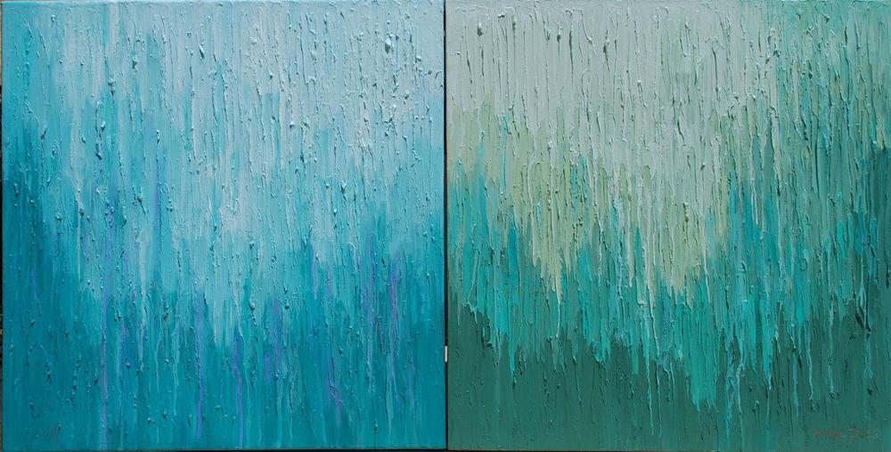 RAIN DROPS SPRING & RAIN DROPS, WINTER, 24x24 each.JPG