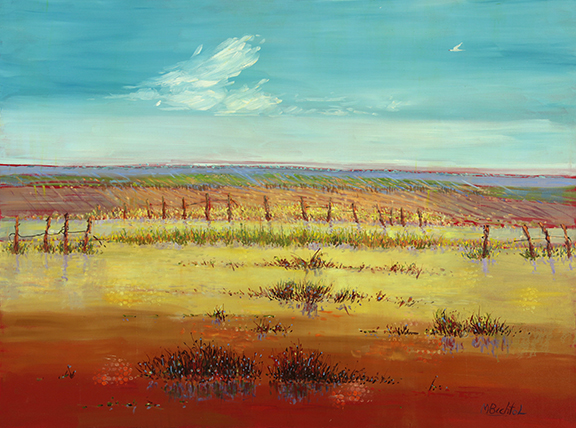 Field with Fence   by Mary Bechtol       oil on canvas       36x48                $5,200.00