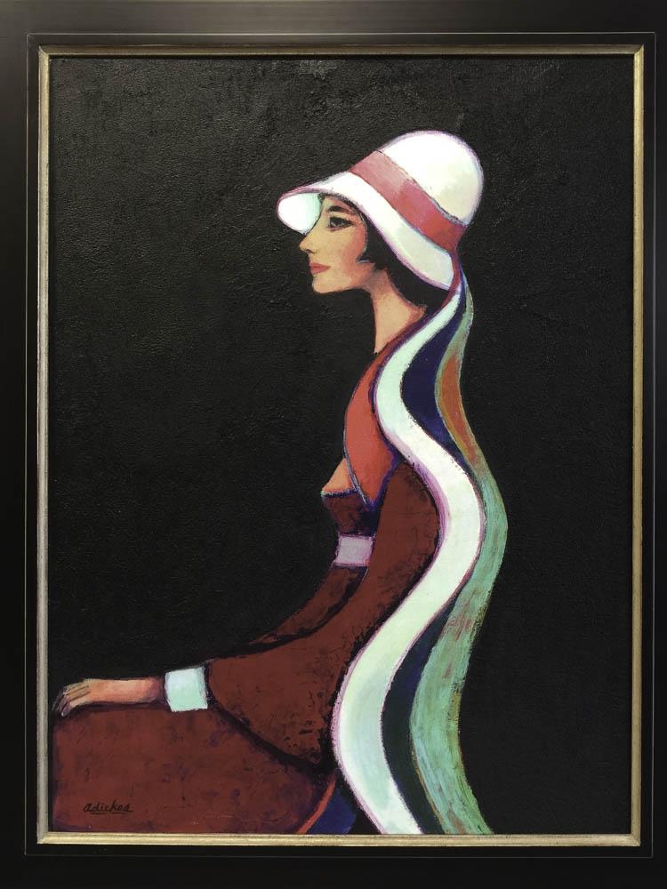 Elegant Lady, White Hat & Scarves