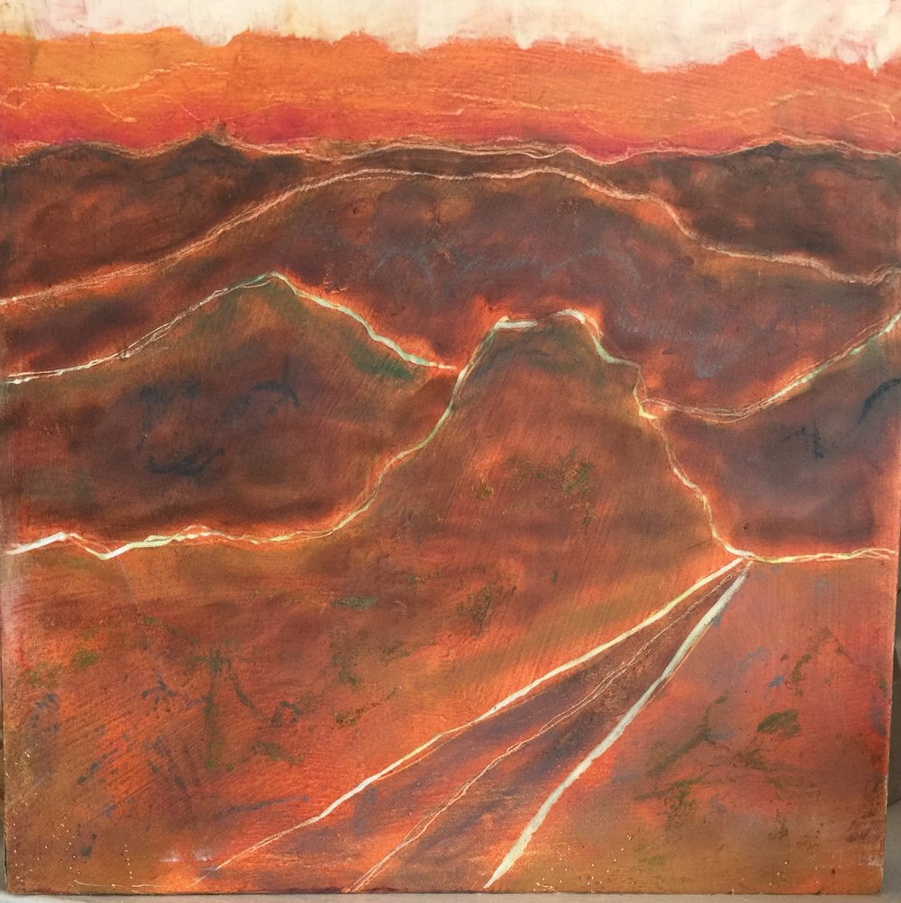 "the Road to Alpine   Cold Wax on archival panel  6""x6""x1""  by Susan Kirchman"