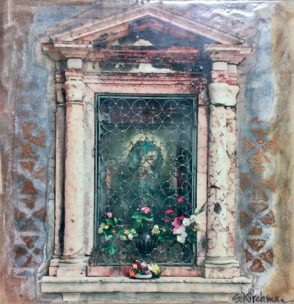 Italian Shrine #1  12x12 Encaustic and mixed media