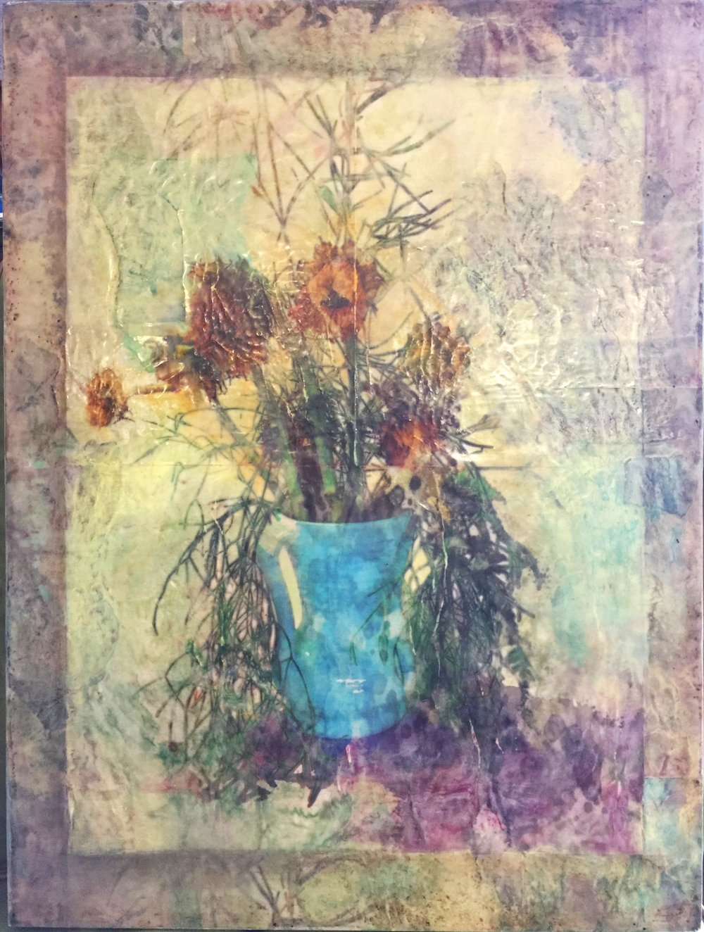 "Sunflowers    by S. Kirchman     18""x24"" Mixed Media Encaustic"