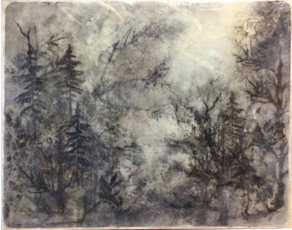 "Paradise   by S. Kirchman   11""x14""  Mixed Media Encaustic"