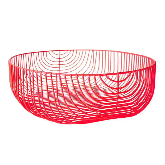 super modern and perfect for a pop of color in your home! The wire basket allows you to identify the contents.