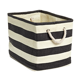 Rugged and all purpose. Add a tag to label the insides. You can never go wrong with fabric bins!