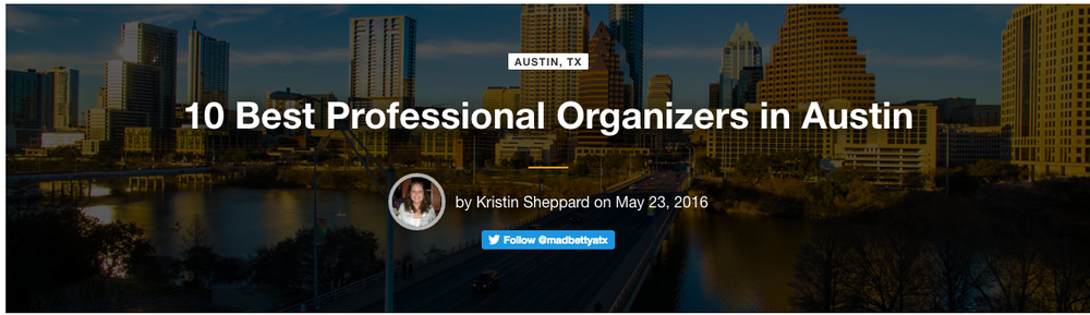 Voted one of the ten best organizers in Austin by Sparefoot!