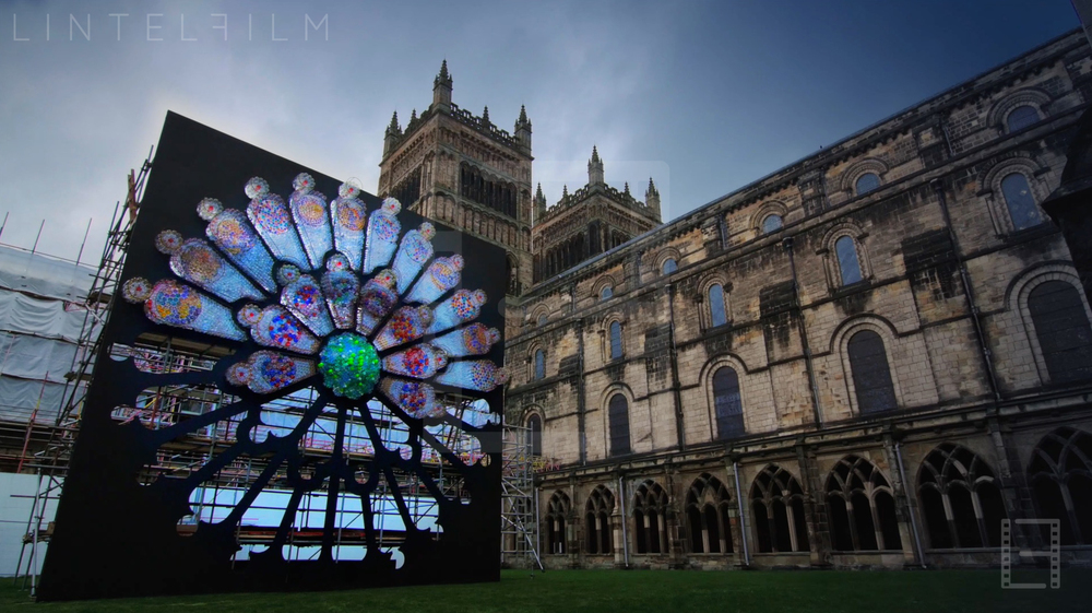 Mick Stephenson's installation  Litre of Light  during its assembly in the Cloisters garden at Durham Cathedral. Photo: Matt James Smith for Lintelfilm