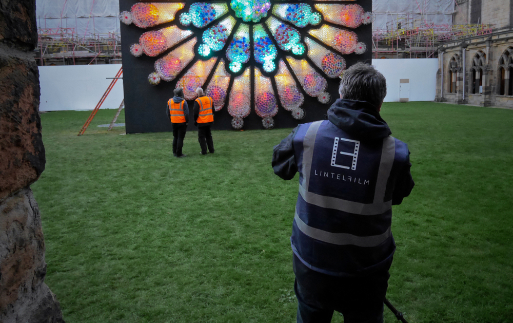 Above: Matt filming artist Mick and his collaborator Stuart as they put the finishing touches to their creation - just hours before the public opening of Lumiere Durham 2015.