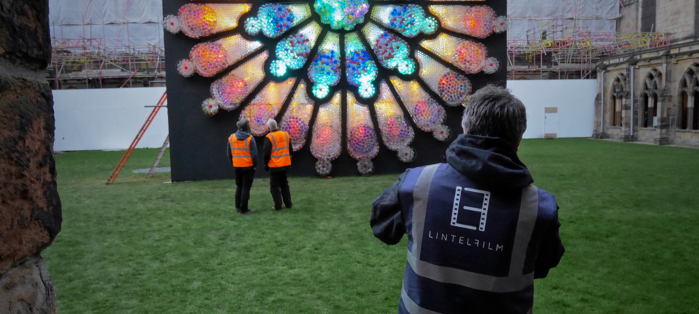 Matt filming in Durham Cathedral during the 2015 Lumiere Festival