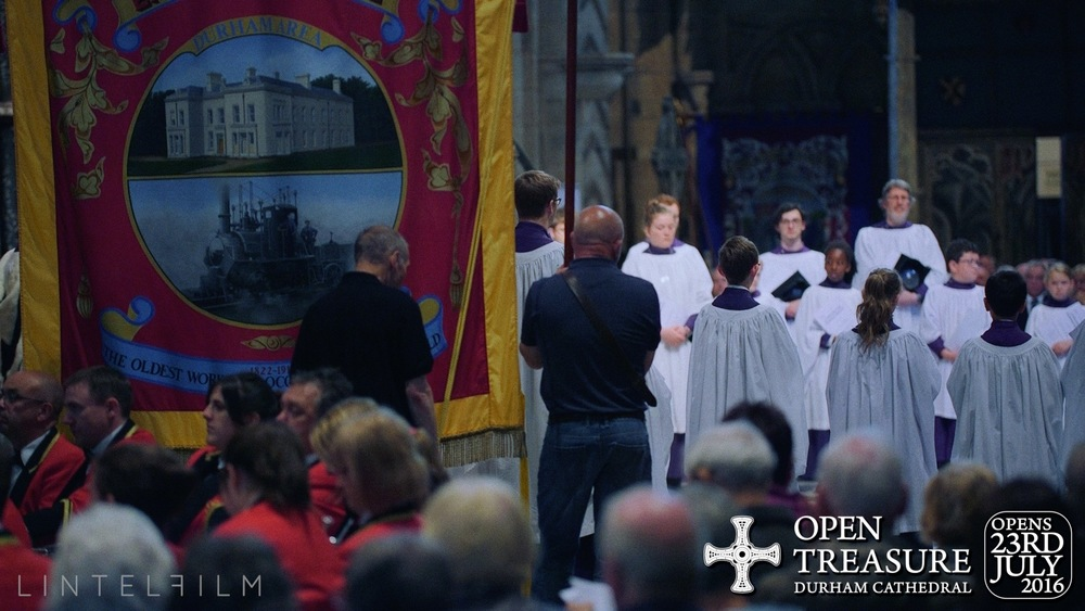 After the 2016 Durham Miner's Gala, the banners are blessed inside the Cathedral.