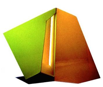 "Green, Gold Stripe, Front, 26  ""  W x 21  ""  H x 6  ""  D, Photo Construction, Cibachrome Print, 1982"