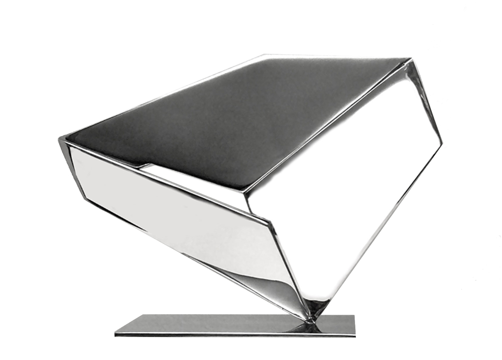 "Metra, 12  ""  W x 9  ""  H x 2  ""  D,   Base:  4  ""  W x 7  ""  Long,  Stainless Steel Sculpture, 1977"