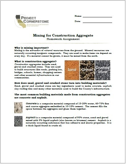 Mining for Construction Aggregate Homework Assignment (3 Pages)