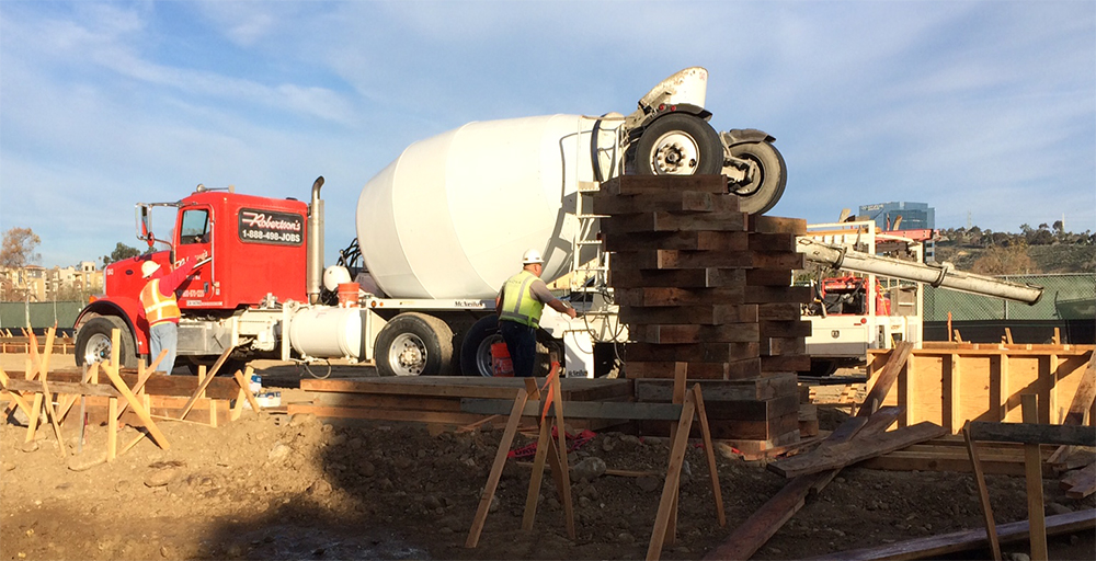 Robertson's Ready Mix Concrete Mixer delivering concrete to a Mission Valley hotel. Photo by Crystal Howard.