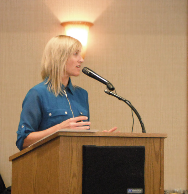 Crystal Howard speaking at the Project Cornerstone Annual Meeting on 4/15/15.