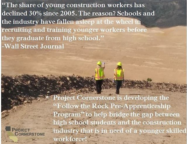 A recent Wall Street Journal article highlights the labor shortage and decline of young workers entering into the industry. Project Cornerstone is working to counteract this through our programs! #careeropportunities #construction #educationmatters #NGSS #STEM #aggregate #aggregateindustries #apprenticeship #mining #constructioncareers
