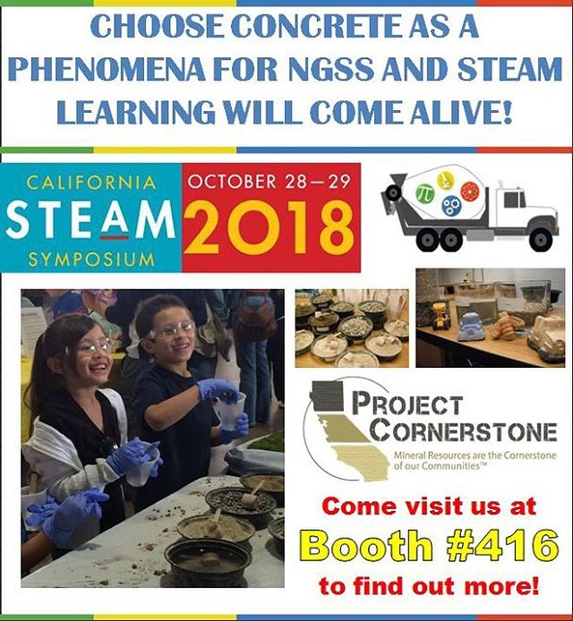 "Will you be there for Project Cornerstone's roundtable presentation at @steam_symposium ""Choose Concrete as a Phenomena for NGSS and STEAM learning will come alive!""? Stay tuned for more information about our presentation, and come visit us at Booth #416!  #CASTEAM18 #STEAM #NGSS #ScienceOfConcrete #ProjectCornerstoneSD #educationmatters #stemeducation #concrete #construction #science"