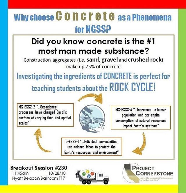 Did you know #concrete is the #1 man made substance? Use concrete as a #phenomena for #NGSS to teach students about the #RockCycle !  #STEAMinLB #CASTEAM18 #ConcretePhenom