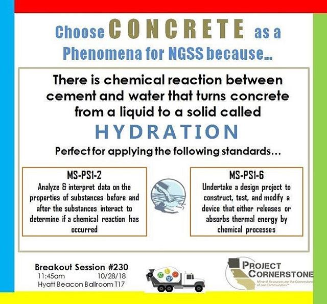 The California STEAM Symposium is coming up this weekend in Long Beach! Here's another reason to choose #concrete as a #phenomena for #ngss ! #concretephenom #steaminLB #CASTEAM18