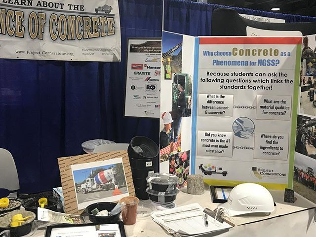Project cornerstone booth at the @steam_symposium in Long Beach! Breakout session making #concrete went great and educators from all over the country left with new ideas about the #scienceofconcrete and using concrete as a #phenomena  for #NGSS!