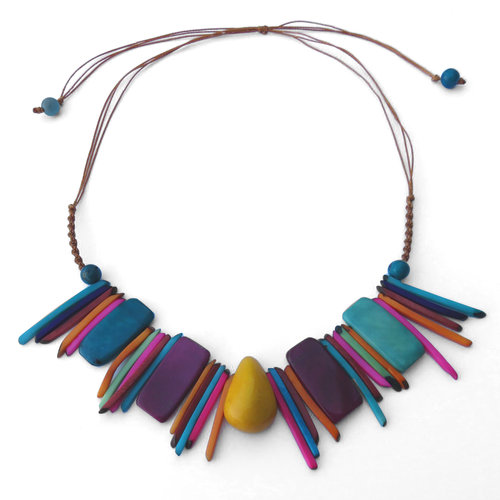 tagua necklace statement necklaces red beaded slice
