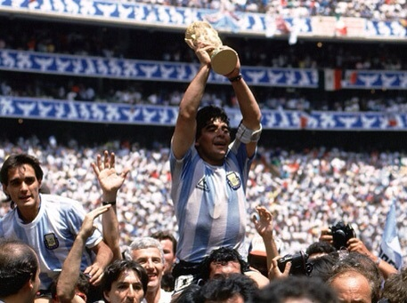 The hands of God.. Maradona celebrating Argentina's 1986 World Cup triumph.