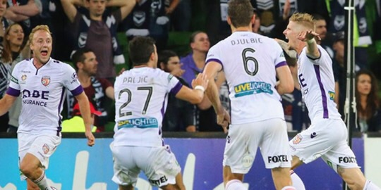 Glory be! Andy Keogh scores against The Melbourne  Victory.
