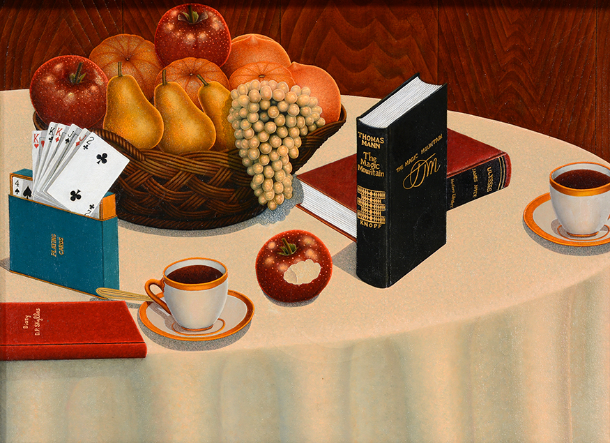 Drossos P. Skyllas    Still Life On Table.  Signed. Oil on canvas. Image 24 x 18.  Frame 31 x 18.