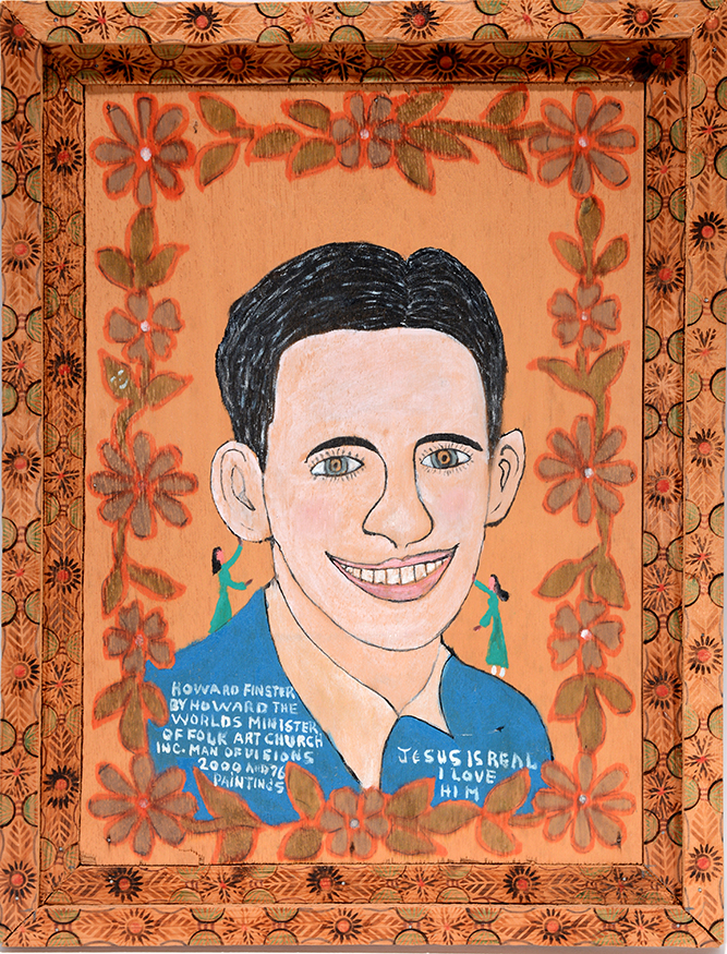 Howard Finster    Howard Finster By Howard Finster.  #2,076. C. 1981. Signed, titled and numbered. Purchased from Howard in 1981. Featured in  Stranger From Another World  by Tom Patterson, pg. 65. Paint and graphite on board with artist-made wood burned frame. 15 x 19.