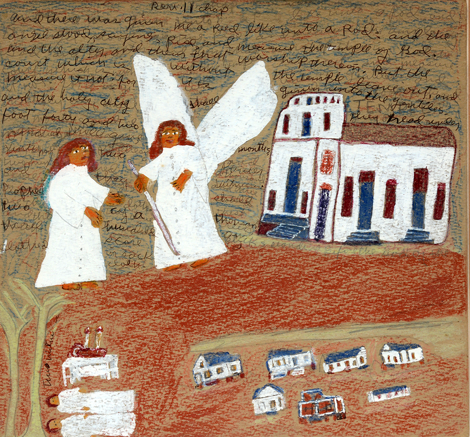 Sister Gertrude Morgan    Rev. II And The Angel Stood.  Paint, ink, graphite and crayon on found cardstock. Image 14 x 13. Frame 17 x 16.