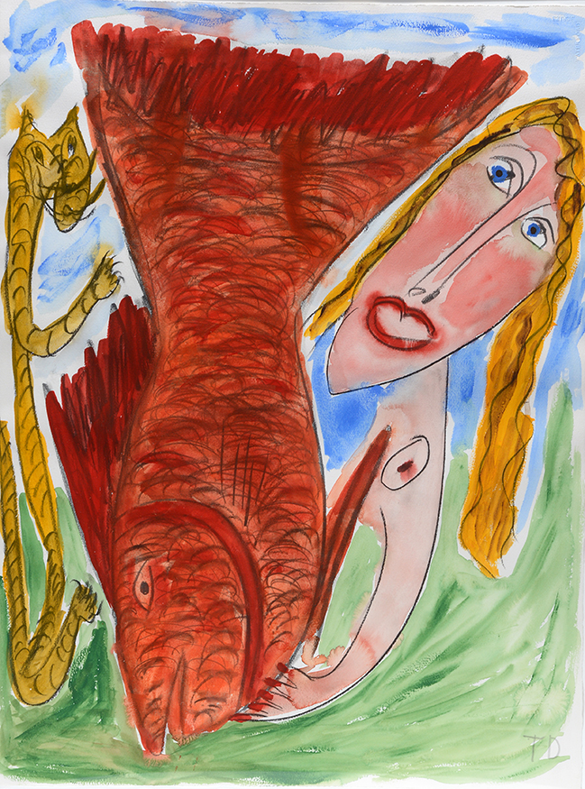 Thornton Dial    Nude Woman With Tiger And Fish.  Initialed. Watercolor and graphite on artist paper. Image 22 x 29. Frame 26 x 34.