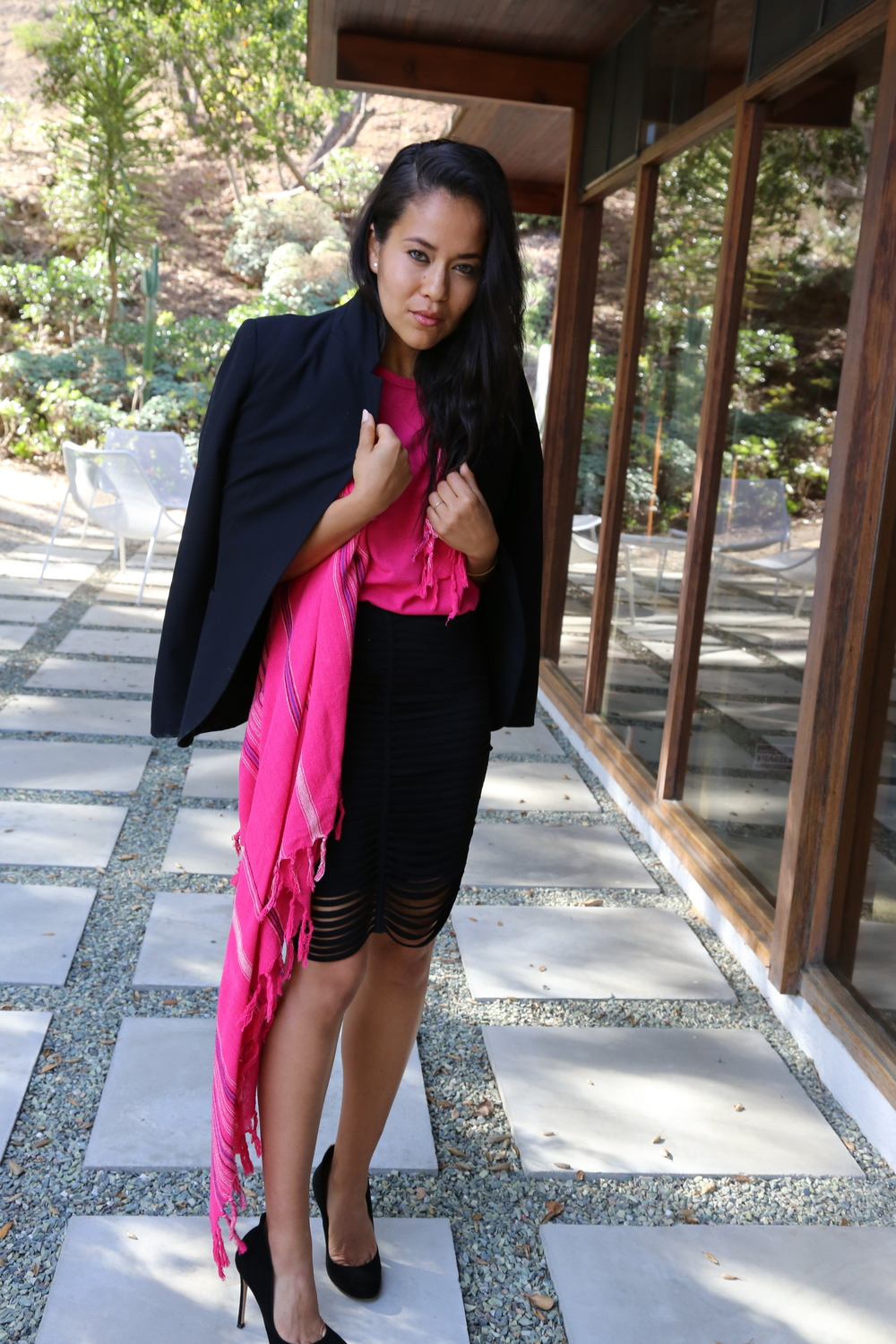 zara-blazer-alexander-wang-pencil-skirt-black-pumps-isabel-marant-pink-top-scarf-los-angeles.jpg