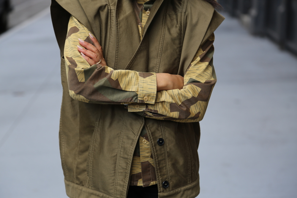 ACNE-CAMO-SHIRT-ISABEL-MARANT-VEST-GREEN-VANESSA-BELETIC-NEW-YORK.JPG