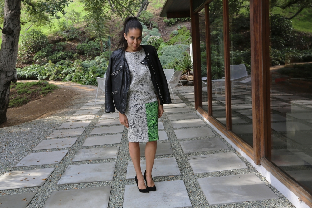 AVELON-PENCIL-SKIRT-BOLD-PRINT-BLACK-GREEN-ISABEL-MARANT-MOTO-JACKET-VANESSA-BELETIC-LOS-ANGELES.JPG