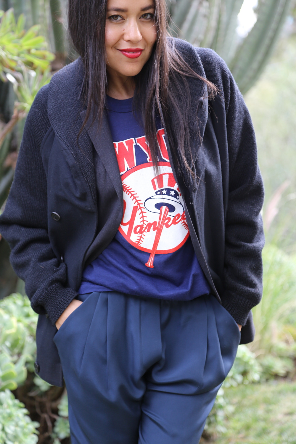 VANESSA-BELETIC-SPORTS-TEE-PHILLIP-LIM-SILK-PANT-NAVY-CARDIGAN-YANKEES-VINTAGE-LOS-ANGELES.JPG