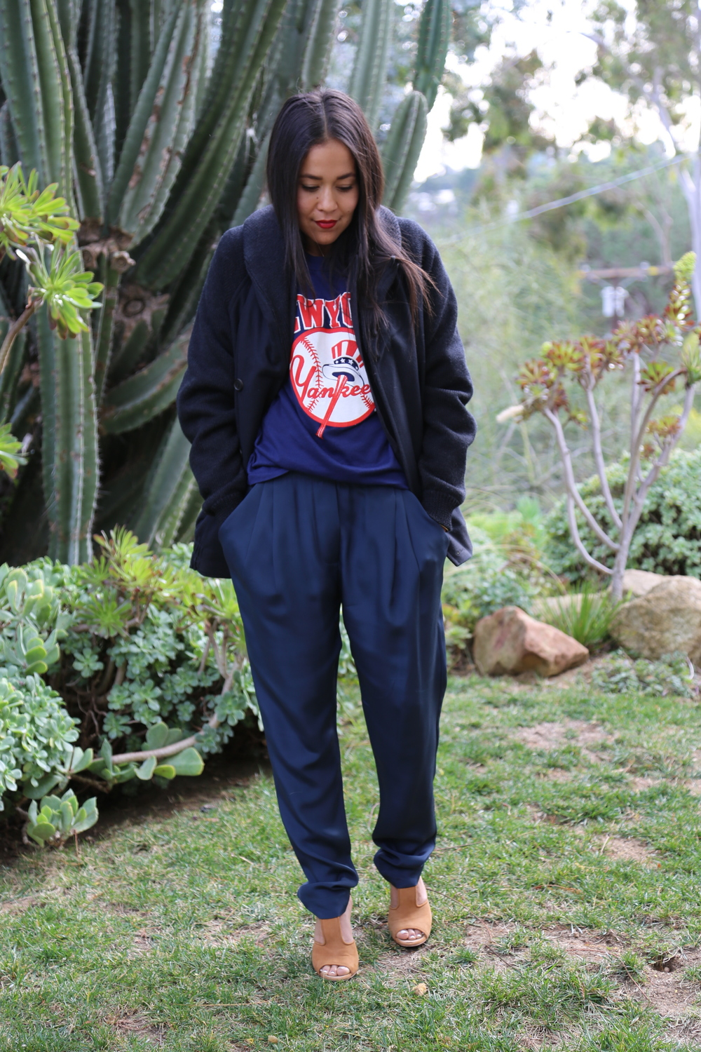 VANESSA-BELETIC-SPORTS-TEE-PHILLIP-LIM-SILK-PANT-PROENZA-HEELS-YANKEES-VINTAGE-LOS-ANGELES.JPG