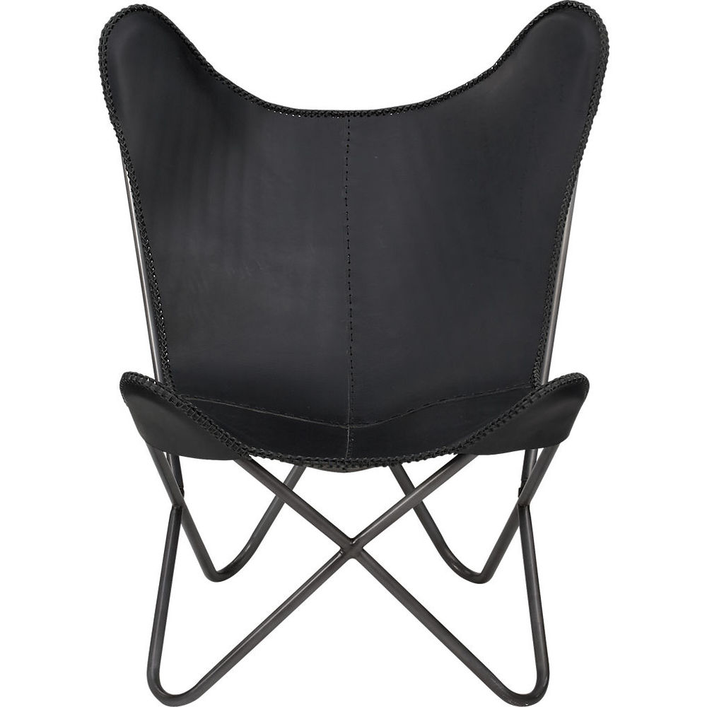Butterfly lounge chair in black and tan