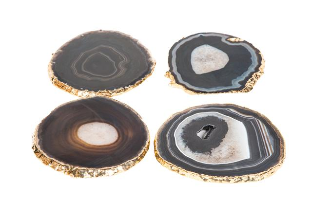 Gold trimmed agate coasters, dark and neutral