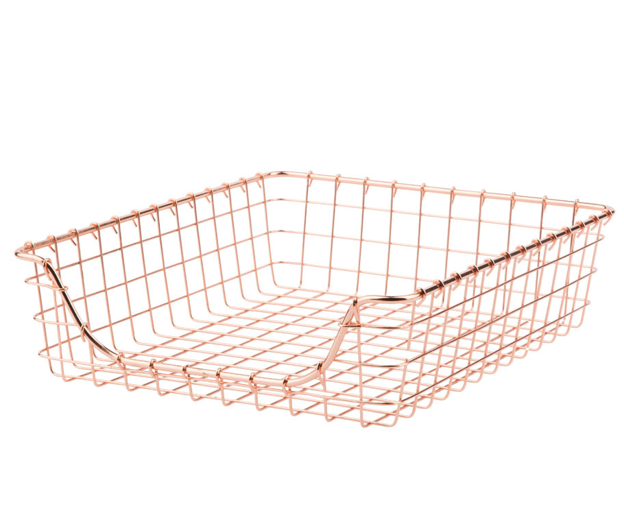 Everything's coming up metallic! Copper wire tray.