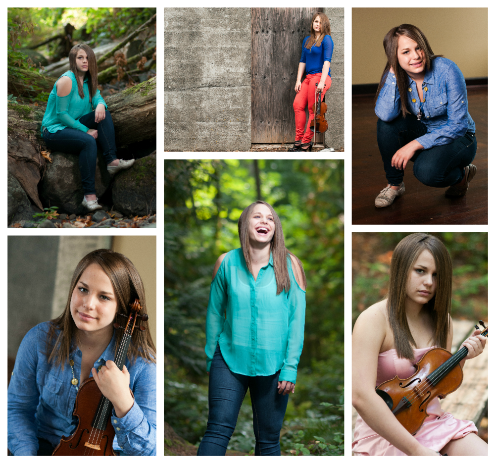 These images are from a senior session I did almost 5 years ago! It was the first time I ever saw potential in my images and finally settled on the kind of work I love to do. My work has grown so much from this session and I can objectively look at these images and see where there was room for improvement and what I had right. For example, the lower right image is fussy to me where the subject's head meets the top of the frame. This was in part because I hadn't yet made the switch to a full frame camera. (But you don't need a full frame camera to take a few steps back!) Same thing going on in the top middle image. I also cut her feet off, which bugs a bit. Seeing these issues helped me improve my awareness of addressing them. Now I always shoot just a little bit wider and make sure I'm not cutting off limbs in awkward places!