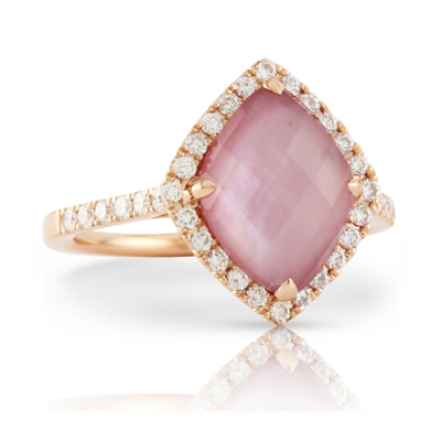 DOVES  Kite set Cushion Amethyst coupled with Pink Mother of Pearl set in rose gold with diamonds $2049