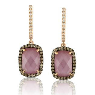 DOVES  Amethyst coupled with Pink Mother of Pearl set in rose gold with cocoa diamonds $1949