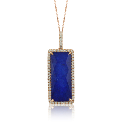 DOVES Royal Blue Lapis set in rose gold with diamonds $1849