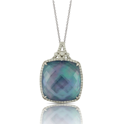 DOVES  Cushion Lapis, White Mother of Pearl and White Topaz set in white gold with diamonds $2199