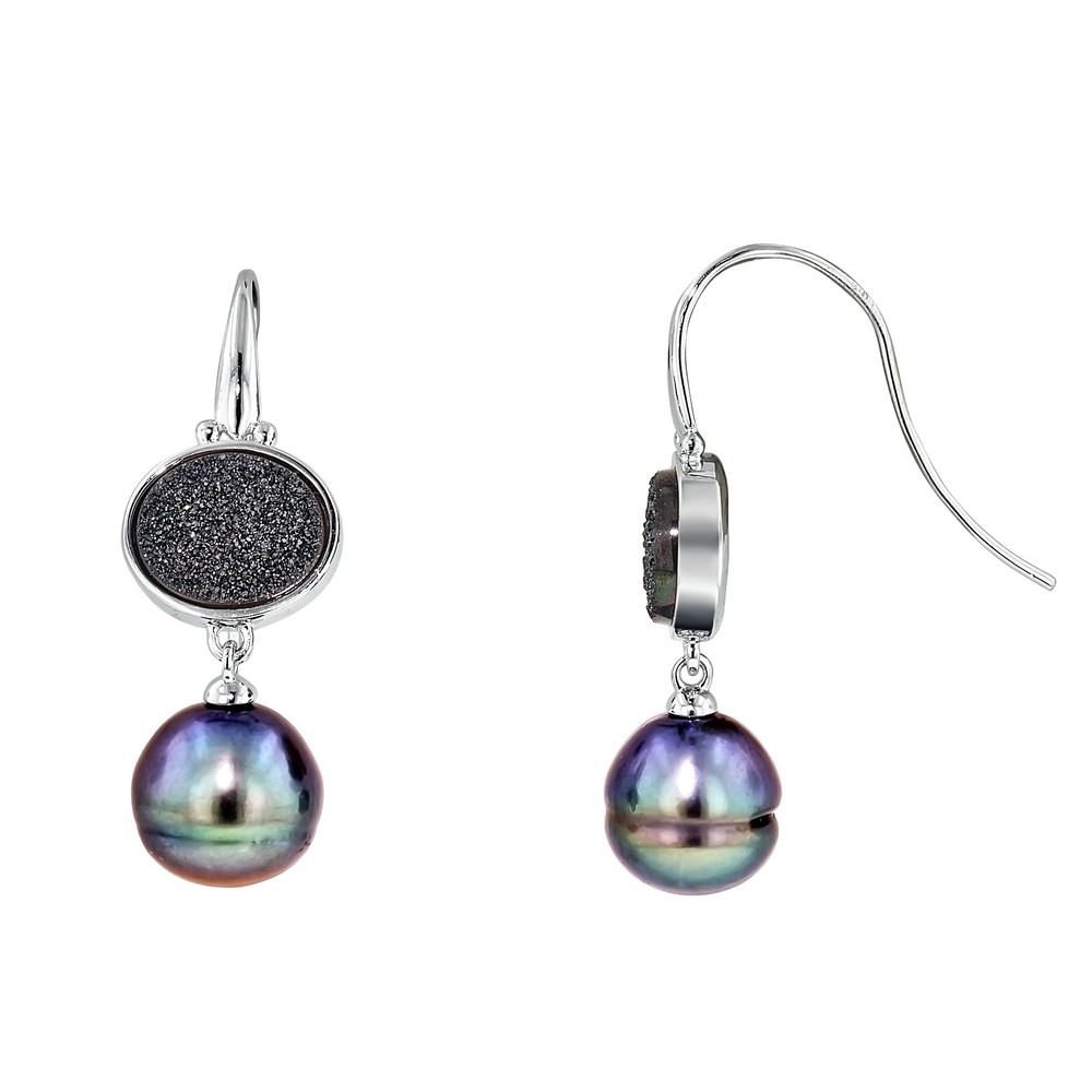 HONORA   Sterling Silver 11-12mm Black Ringed Freshwater Cultured Pearl with Black Agate Druzy Dangle Earrings  $230