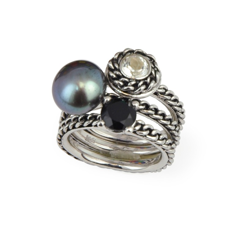 HONORA   Sterling Silver Black Button Freshwater Cultured Pearl White Topaz & Black Onyx Stack Ring  $215