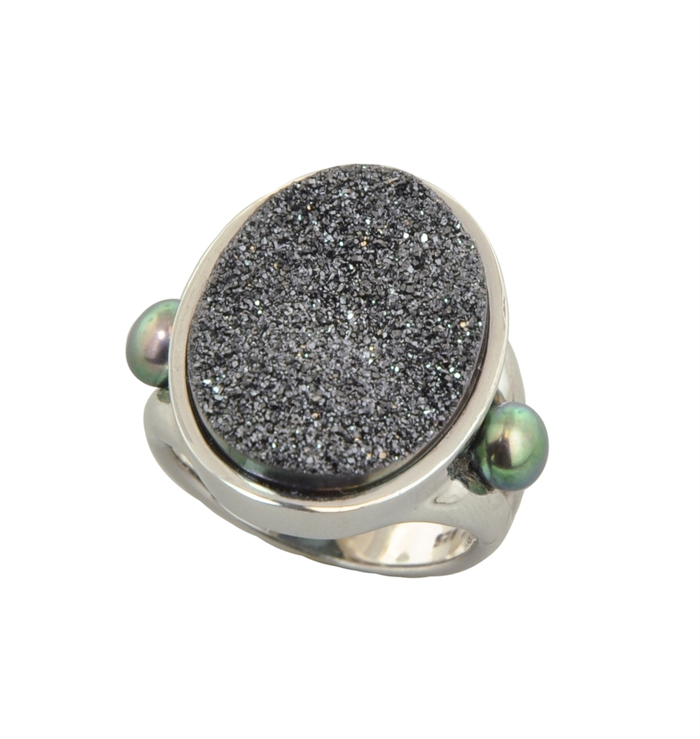 HONORA   Sterling Silver 4.5-5mm Black Button Freshwater Cultured Pearl with Black Agate Druzy Ring  $265