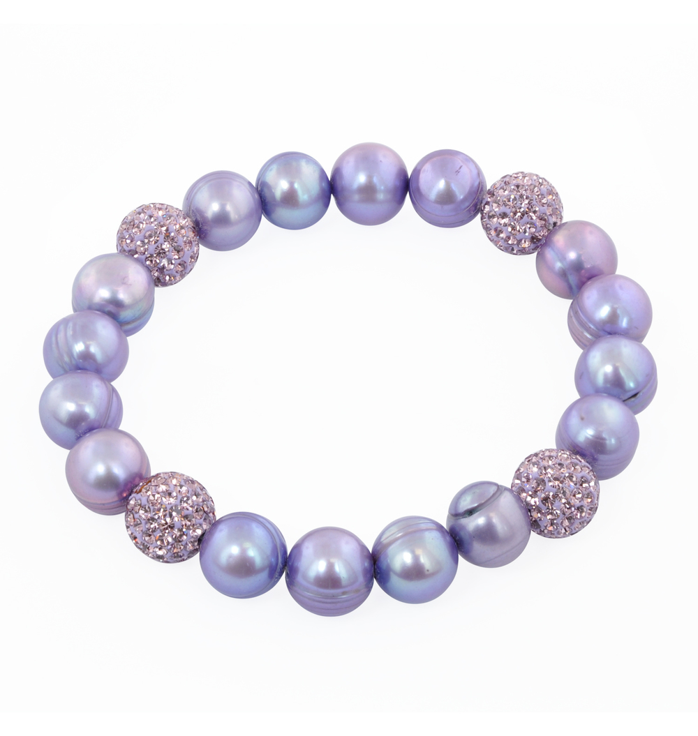 "HONORA   Violet Round Ringed Freshwater Cultured Pearl and  Pave Crystal Bead 7.25""-7.5"" Stretch Bracelet  $70"