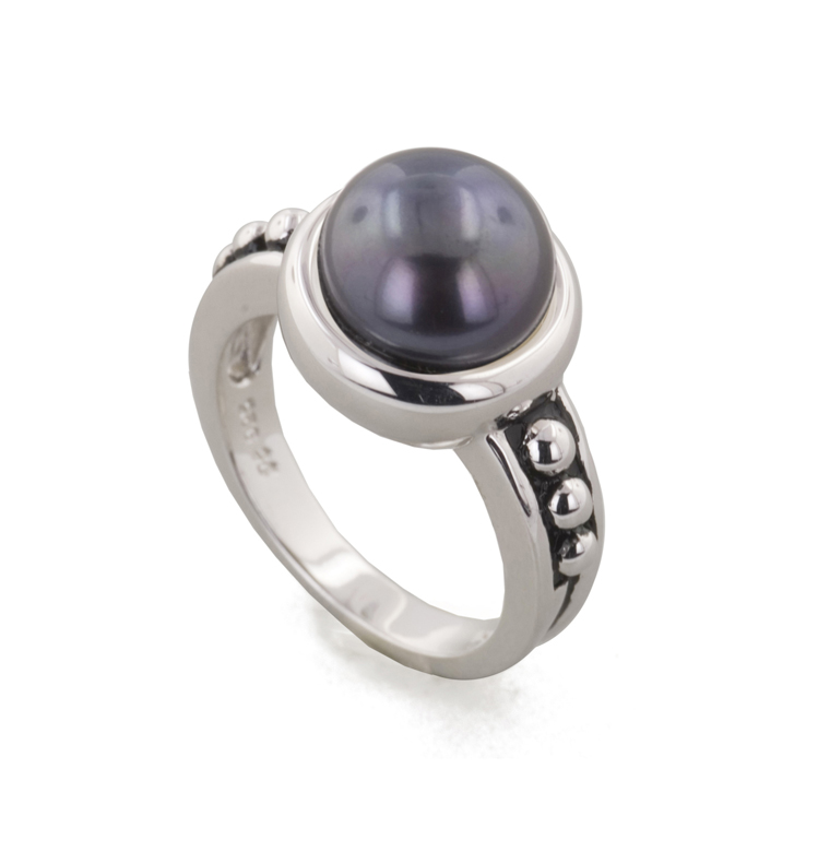HONORA   Sterling Silver 9.5-10MM Black Freshwater Cultured Pearl Button Pallini Ring  $125